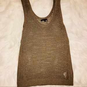 Banana republic tan crochet knit sleeveless tank L